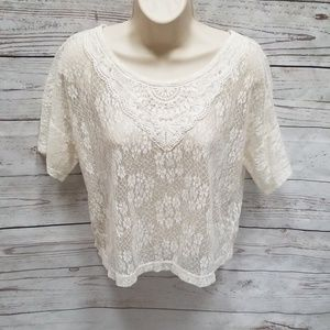 XXI Forever 21 Lace Pearl Detailed Shirt